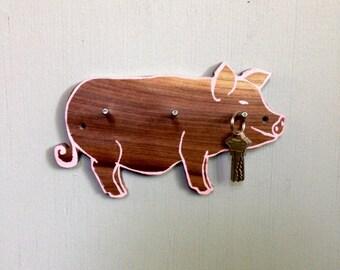 Pig Hook, Coat Hook, Kids Room, Gift for a Pig Lover, Reclaimed Wood Hook
