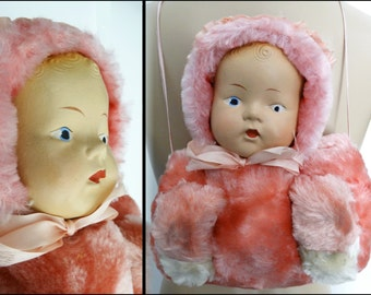 Vintage Doll Muff//Gift Card//Childs Muff//Antique Doll Head//Pink//White//Composite Doll