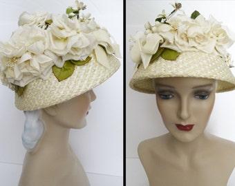 Vintage 1950s Hat //50s Hat//Floral//Designer// Femme Fatale//Mad Men//Rockabilly//Creme//Gertrude Moran//