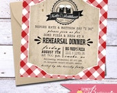 Gingham Rehearsal Dinner Invite - Wedding Shower - Picnic - BBQ Invitations - Engagement Party - Printable DIY