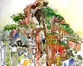 Disneyland Splash Mountain Ride, print of a watercolor sketch, fine art print
