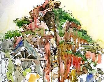 Disneyland Splash Mountain Ride, print of a watercolor sketch, fine art print
