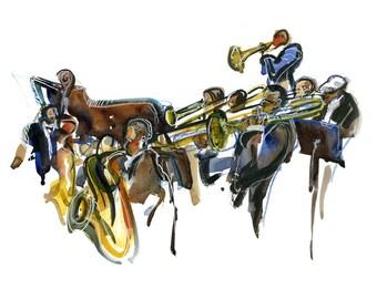 Jazz Musicians -fine art print in ochre, blue, brown mustard and gold
