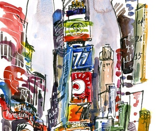 New York Sketch, Times Square, New York City - print from an original watercolor sketch