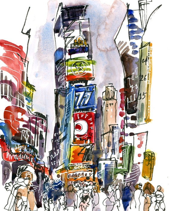 Watercolor New York: New York Sketch Times Square New York City Print From An