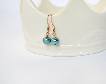 Teal Pearl Earrings - Teal Blue Green Freshwater Button Pearl Earrings, Rose Gold Earrings, Teal & Rose Gold Earrings, Bright Color Earrings