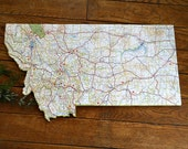 MONTANA Vintage State Map Wall Art (small size)
