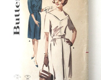1960s Dress Pattern Butterick 2773 Womens Classic Sheath Dress Sewing Pattern, Inverted Skirt Pleat, 3/4 Sleeves, Misses Size 14 Bust 34