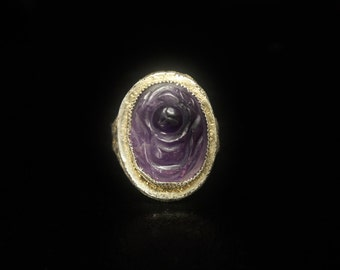 """Art Deco Chinese Amethyst Ring Good Luck """"Fu"""" Silver Filigree Size 7.5 Old Vintage Chinese Filigree Rings"""