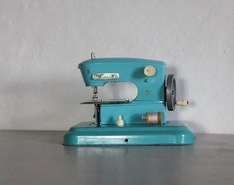 Vintage French Childs Toy Sewing Machine Turquoise