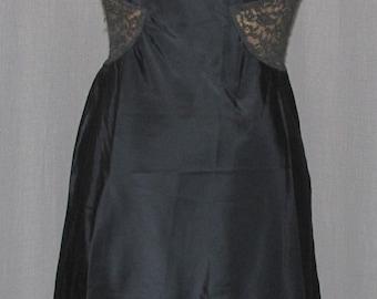 Vintage Late 1950s Full Slip Black Nylon Lace Sexy Lingerie Burlesque LIngerie sm
