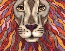 Lion Face Art Print - 8.5x11 Colorful Patterned Lion Illustration by Amanda Lanford