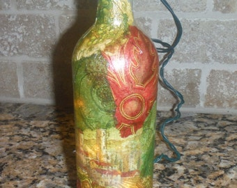Beautiful Lighted Wine Collage Design Wine Bottle Home   Holiday Decor Hostess Gift