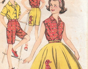 Sz 7-Blouse, Skirt and Bermuda Shorts 1962 Simplicity 3456 Breast 25""