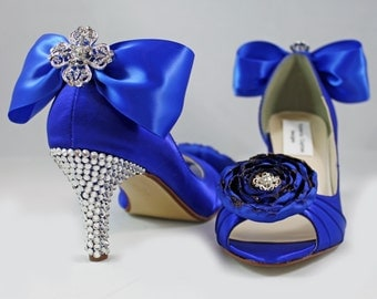 "Royal blue Swarovski crystal heels 1.75"" or  2.5"" heel- The Meadow - Wide shoes available"