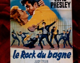 Postcard Elvis Presley Le Rock du Bagne French Affiches Cinema E14 Francois Nugeron France 1970's Unused Near MInt Music Rock & Roll