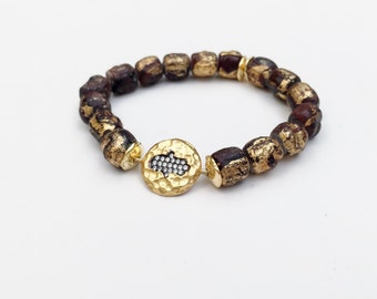Gold Leaf Ceramic Mala Bracelet with Gold Vermeil and White Topaz Hamsa Connector