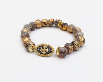 Gold Leaf Ceramic Mala Bracelet with Gold Vermeil Maltese Cross Connector