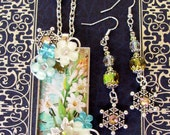 Fancy Pendant and Earring Set (S546) - Christmas Snowflake Design - Tuberose Floral Artwork - Crystals and Floral Accents