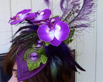 Fascinator (F614) Royal Ascot, Derby Races Hat, Wedding Hat, Silk Florals and Feathers, Sinamay Base, Purple Colors, Crystals