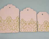Gold & Blush Pink Lace Gift Tags Favor Tags Hang tags /  Select Your Size / Blush Gold Wedding Wish Tree Tags / Set of 25