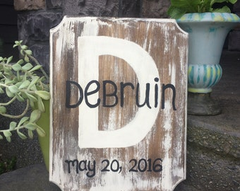 Wedding Photo Prop, Wedding Date Sign, Last Name Sign, Aged Wood Rustic Monogram