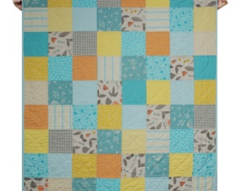 Quilt baby kid neutral gender beddding crib size - organic cotton- orange turquoise yellow vibrant color-ready to ship