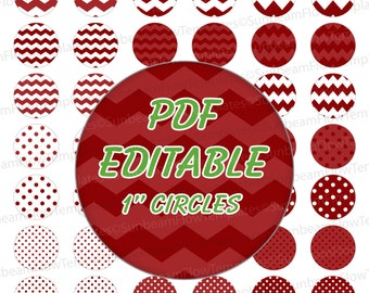 "INSTANT DOWNLOAD - 1"" Circles Editable PDF 0005 Light maroon red polka dots chevron Bottle cap Hairbow party Decoration magnets atc aceo pyo"