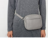 Leather Zipper Belt Bag Stone Gray, crossbody bag, fanny pack, hip bag, hip pouch, travel bag