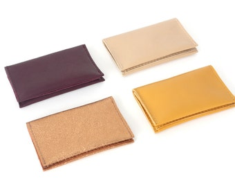 Genuine Leather Bifold Mini Wallet available im 6 colors, cardholder, card case