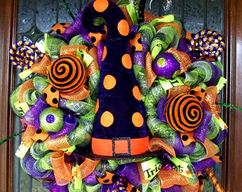 Whimsical Polka Dot Witch Hat Halloween Wreath