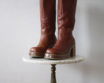FRYE Boots Platform - 9.5Women's - Brown Leather - 1980s Vintage
