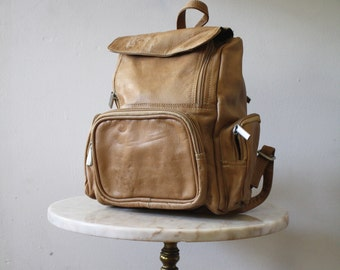 Backpack Leather Tan Brown Black Colombian - 1990s Vintage