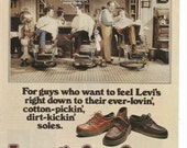 1979 Advertisement Levis for Feet 70s 80s Men Footwear Fashion Barber Shop Shoes Style Wall Art Decor