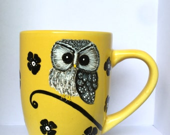 SALE! Yellow Owl Mug - Owl Lover Gifts - Cute Owls - Owl Decor - Hand Painted Mugs - Owl Art