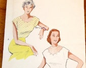 Butterick 5716 Scalloped Blouse, Scoop Neck Tuck in Cap Sleeve Top, Women's Misses Vintage 1950s Sewing Pattern Bust 32 Uncut Factory Folds
