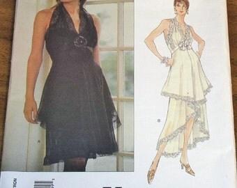 Vogue 1479 Bellville Sassoon Halter Dress Cascade Skirt Womens Misses Vintage Sewing Pattern Size 12 14 16 Bust 34 36 38 Uncut Factory Folds
