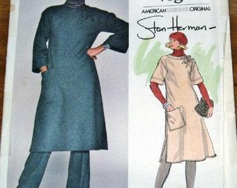 Vintage 1980s Sewing Pattern Vogue American Designer 1353 Stan Herman Caftan, Tunic, Pants Womens Misses Size 14 Bust 36 Uncut Factory Folds
