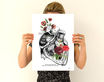 Flowery Heart Human Anatomy Art - Anatomical art prints, wall art poster , prints, digital , SKA080WA3