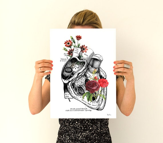 Spring Sale Flowery Heart Human Anatomy Art - Anatomical art prints, wall art poster , prints, digital , PWS091