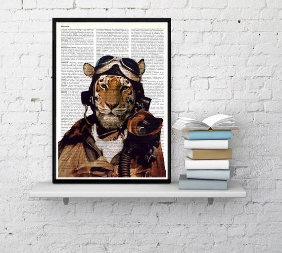 Summer Sale Air force Pilot tiger -Wall decor - Pilot tiger book print - tiger wall hanging - Poster Print art wall art ANI162