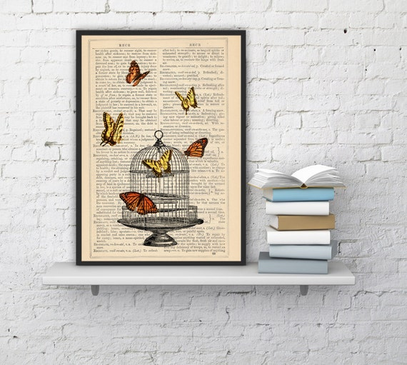 Summer Sale Release the Butterflies n01 Cage collage Print on Vintage Dictionary  page - book art print BFL012