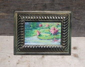 Framed Oil Painting, Original Oil Painting, Water Lilies, Water Lily Painting