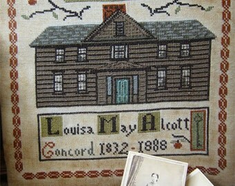 20% OFF SALE Orchard House cross stitch patterns by The Primitive Hare Louisa May Alcott Little Women classic literature
