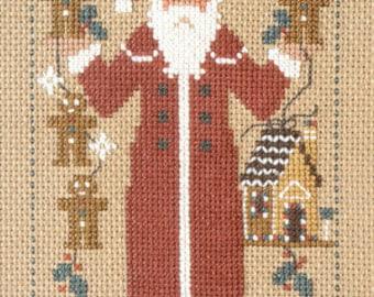 1999 Schooler Santa : Gingerbread Prairie Schooler counted cross stitch patterns sampler December Christmas prim folk art hand embroidery