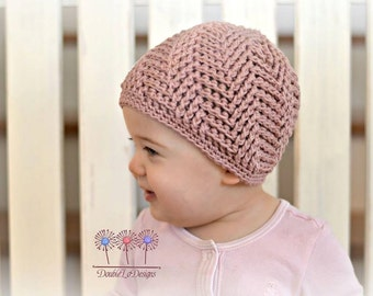 Crochet Pattern for Spiral Herringbone Beanie Hat - 7 sizes, baby to large adult - Welcome to sell finished items