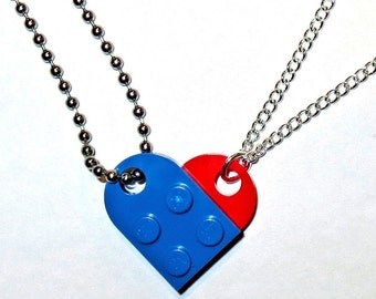 """His Hers Combo - BFF Heart Necklace Set - Made of LEGO® Bricks - 24"""" Dog Tag Style Ball Chain + 18"""" Curb Chain, Best Friends Friendship Gift"""