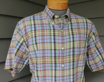 vintage 1980's -Land's End- Men's India Madras three button collar - short sleeve sport shirt. Great colors. Large - Extra Large 16 - 16 1/2