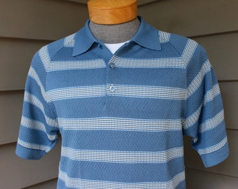 vintage 1960's Men's short sleeve knit shirt. 'Polo' style collar pullover w/ three button placket. Vertical stripe. Medium