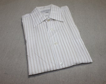 vintage 1970's -Sears- Men's short sleeve dress shirt. 'New Old Stock'.  White with paired fine line Brown stripes.  Large - 16 1/2